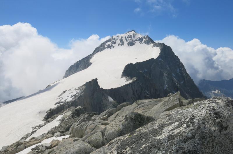 la pala del Carè Alto con a sinistra la cresta est, a destra la via Normale